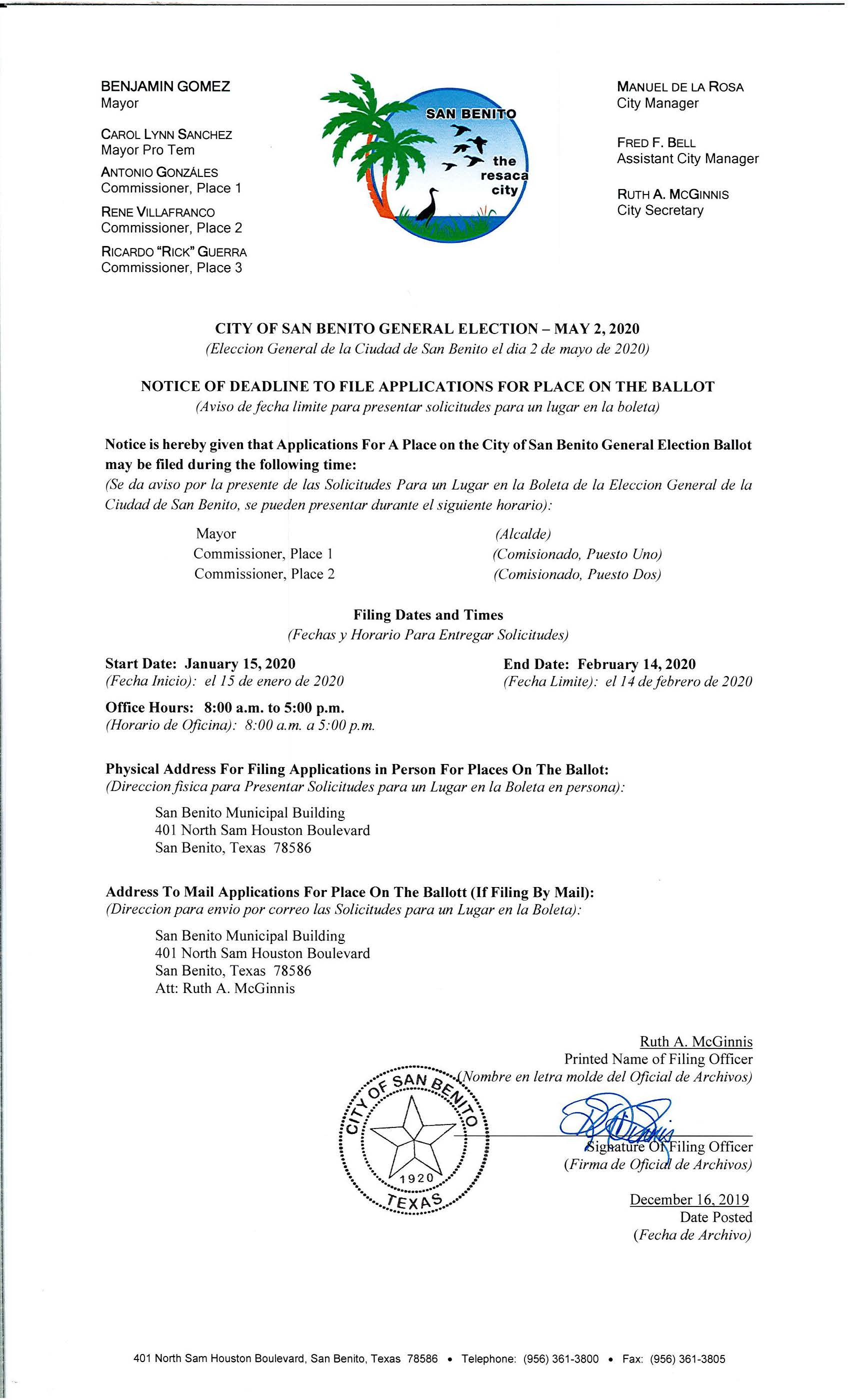 Notice of Deadline to File Apps For Place on Ballot Posted 12.16.2019