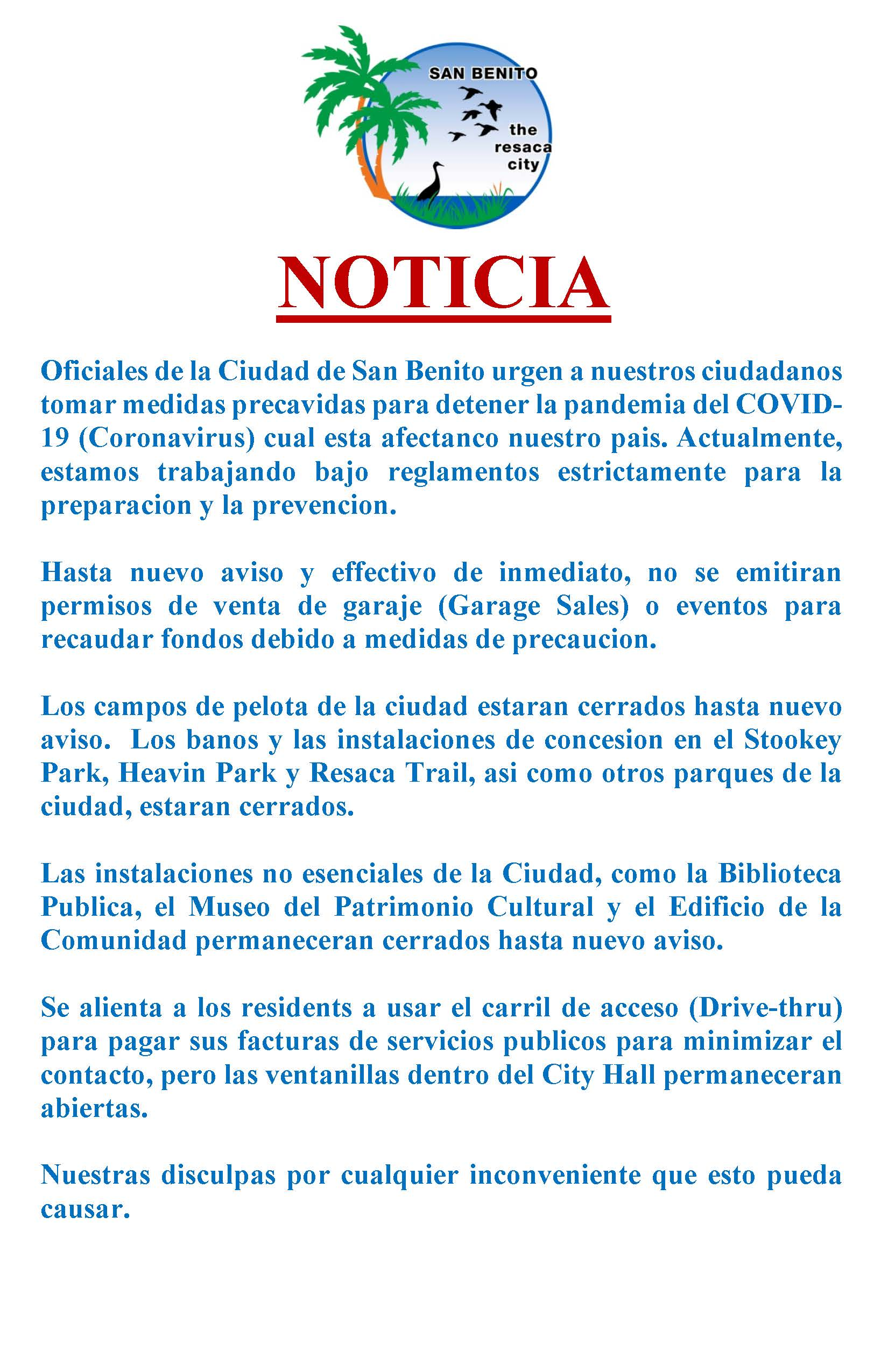 SPANISH NOTICIA Suspencion de Permisos de Ventas 3-17-2020
