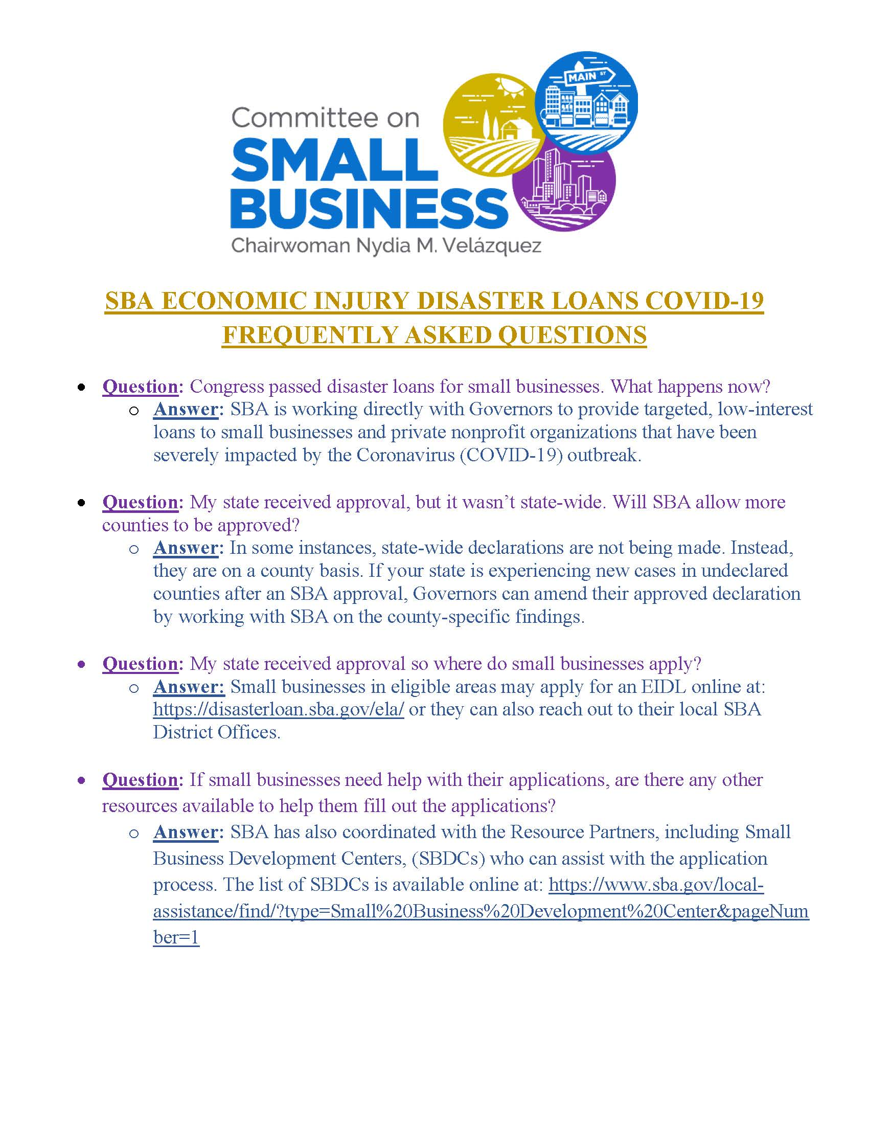 Small Business Administration Economic Injury Disaster Loans COVID FAQs (FINAL)_Page_1