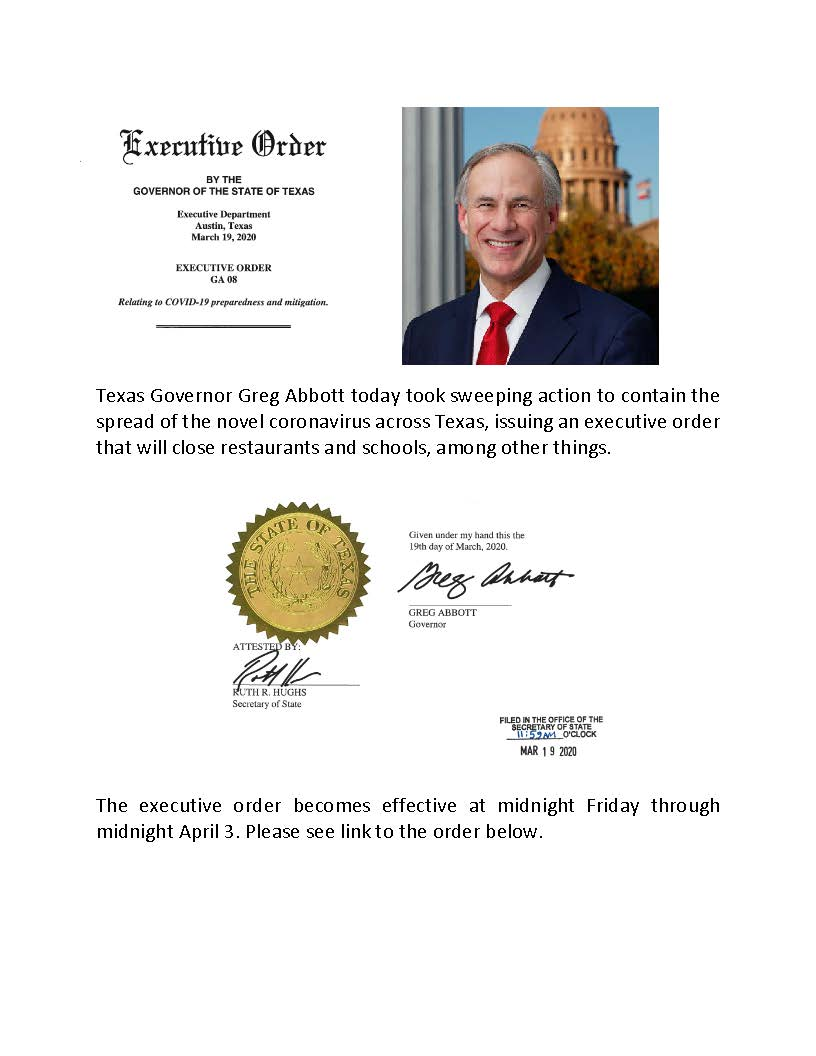 Texas Governor Greg Abbott today took sweeping action to contain the spread of the novel coronavirus