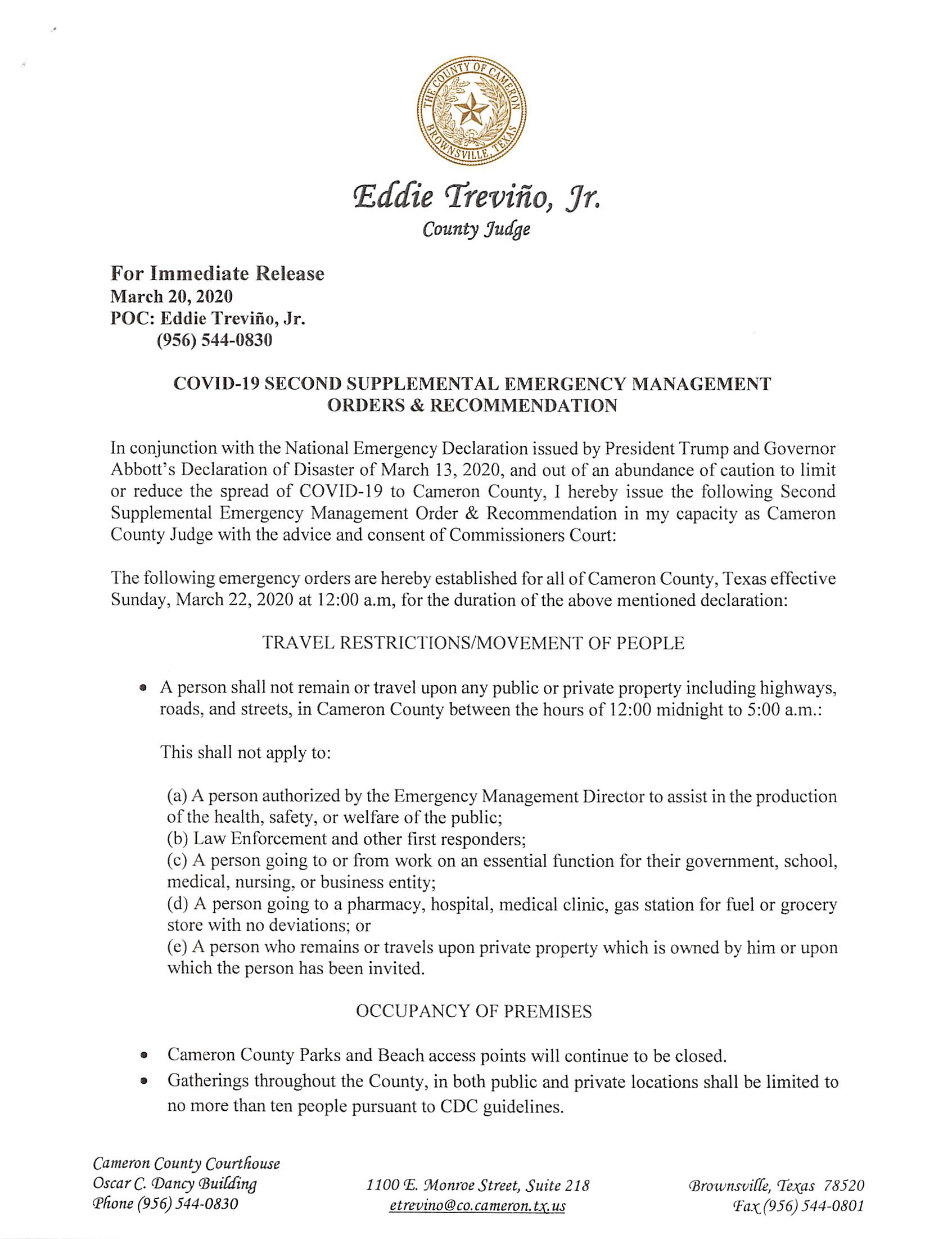Order 2nd Supplemental Emergency Management Order (00000003)2020.03.20 - No. 7 - Immediate Release -