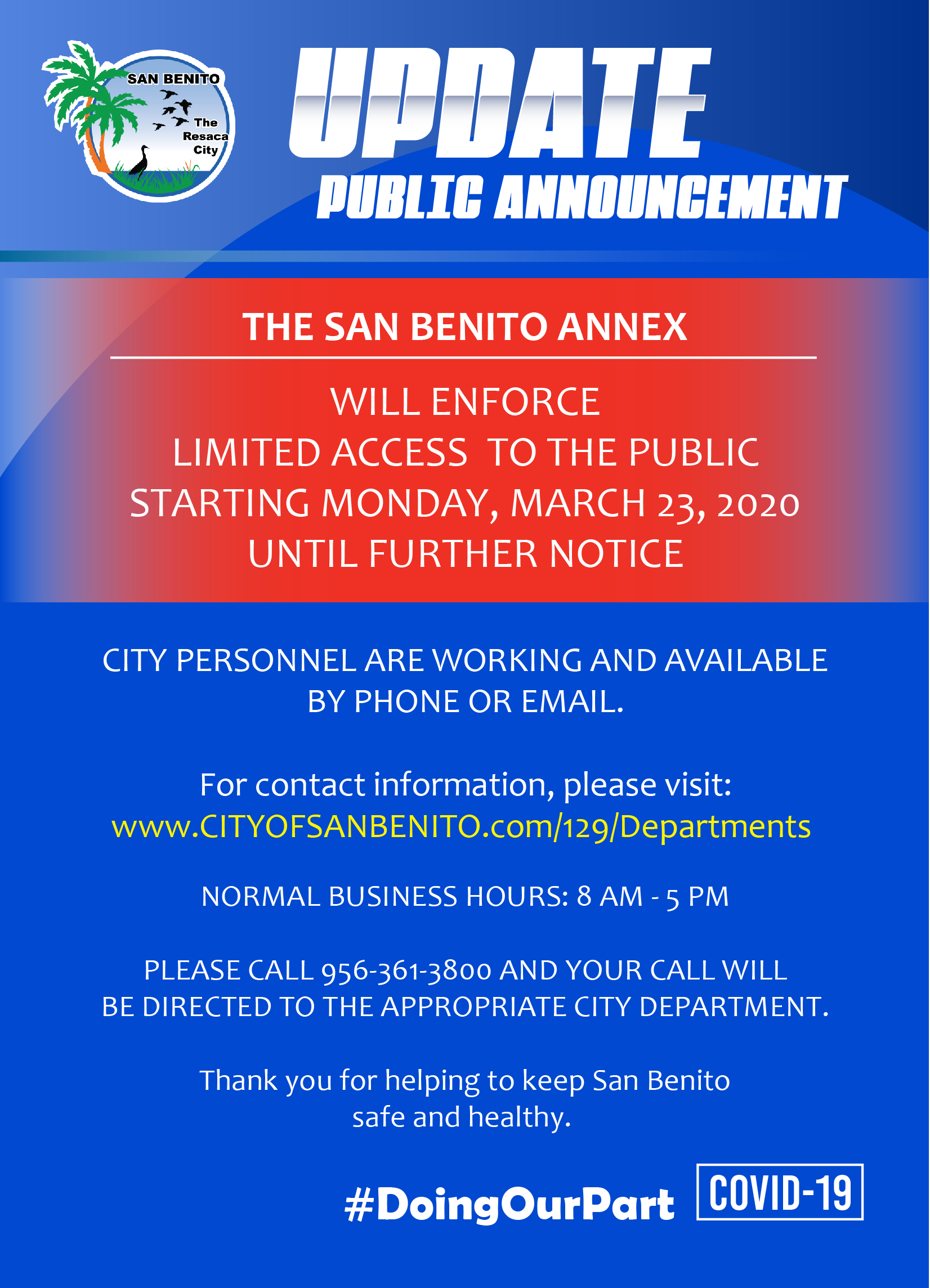 Admin Facilities Closures - Annex
