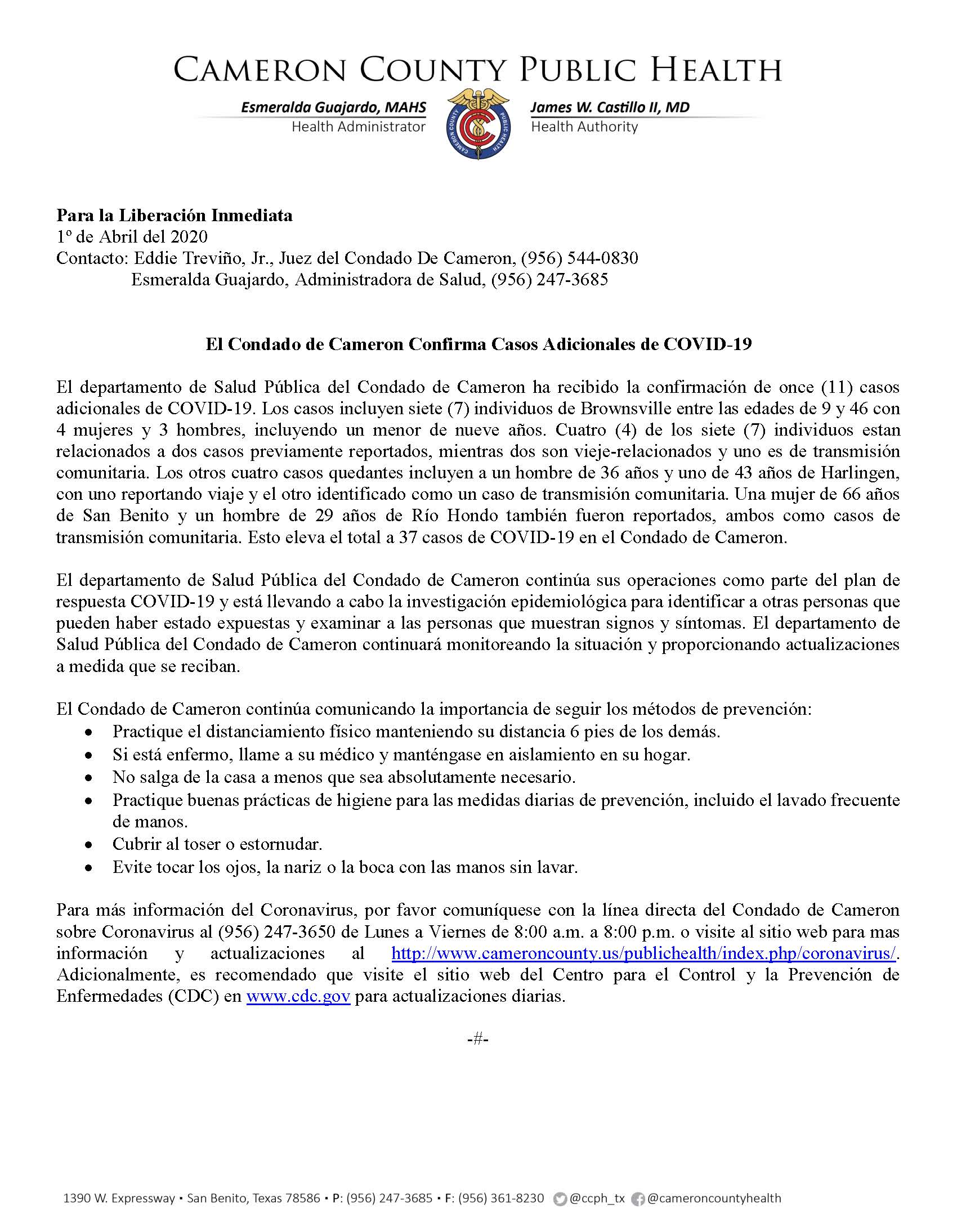 04.01.2020 COVID19 Press Release in Spanish