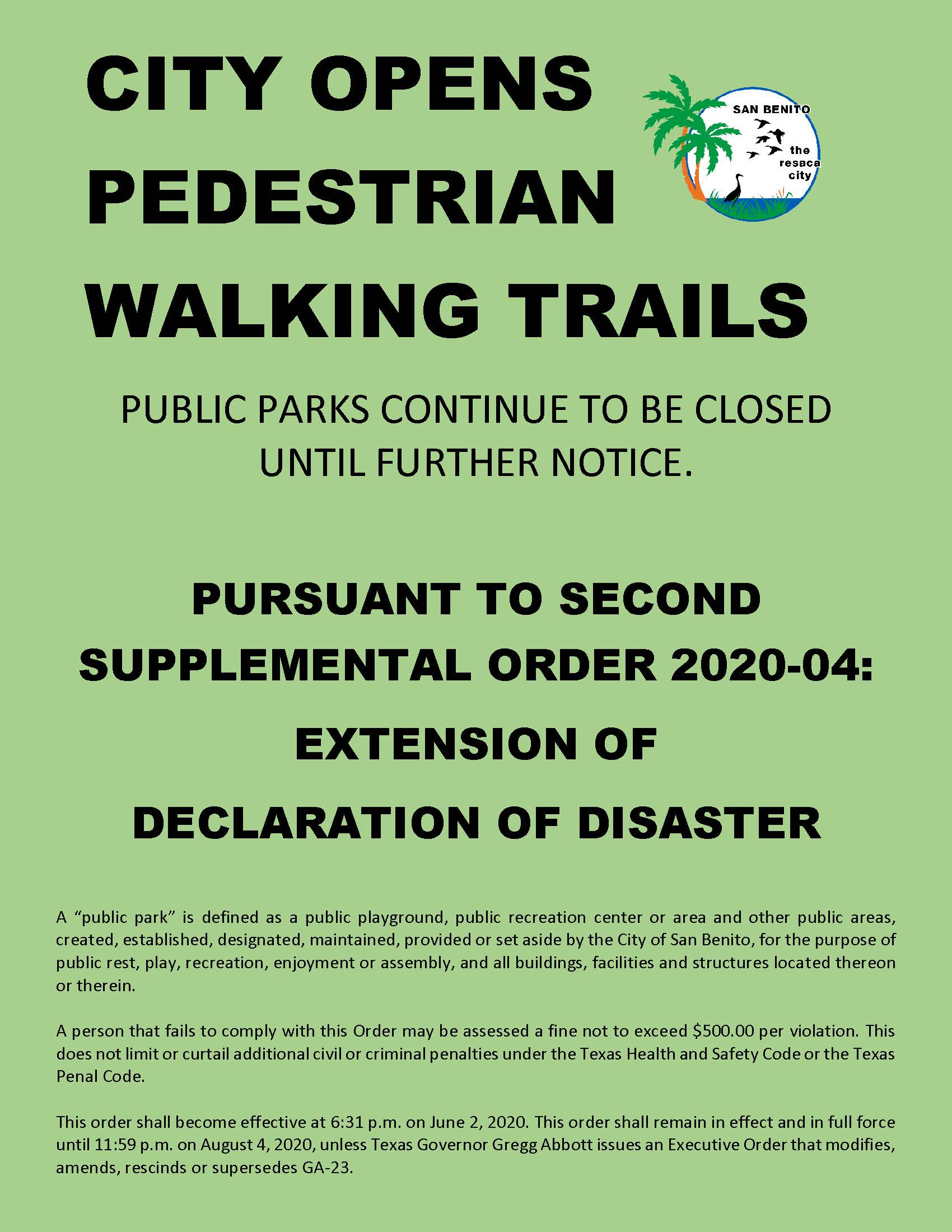 CITY OPENS PEDESTRIAN WALKING TRAILS