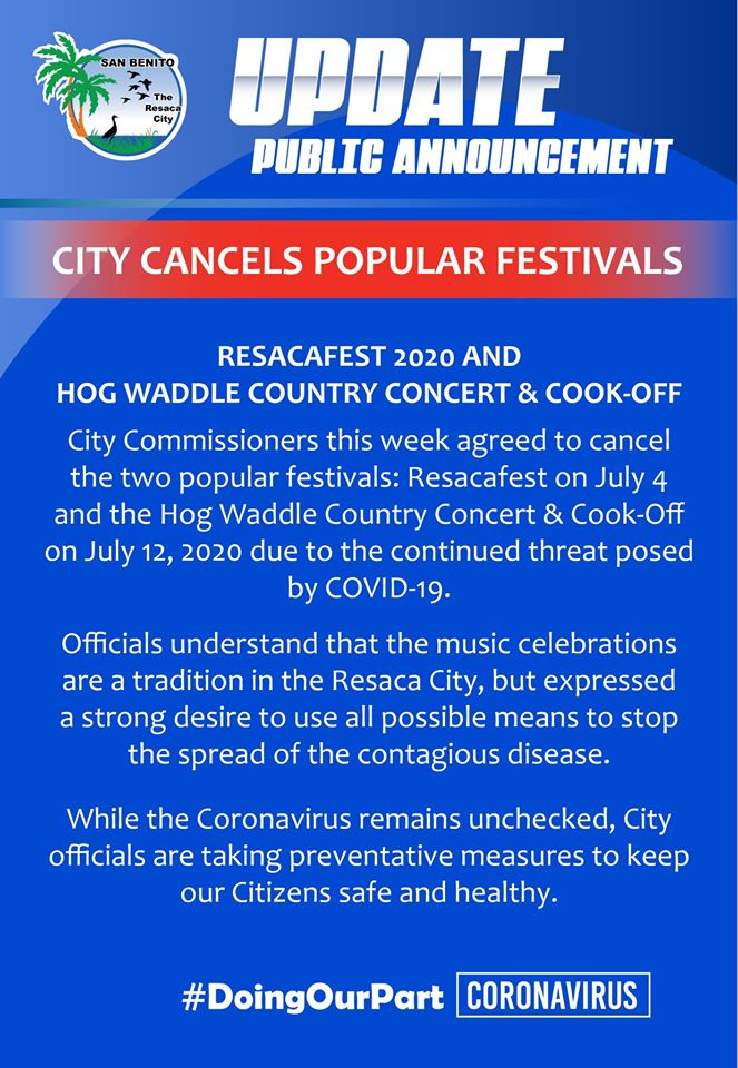 City cancels festivals