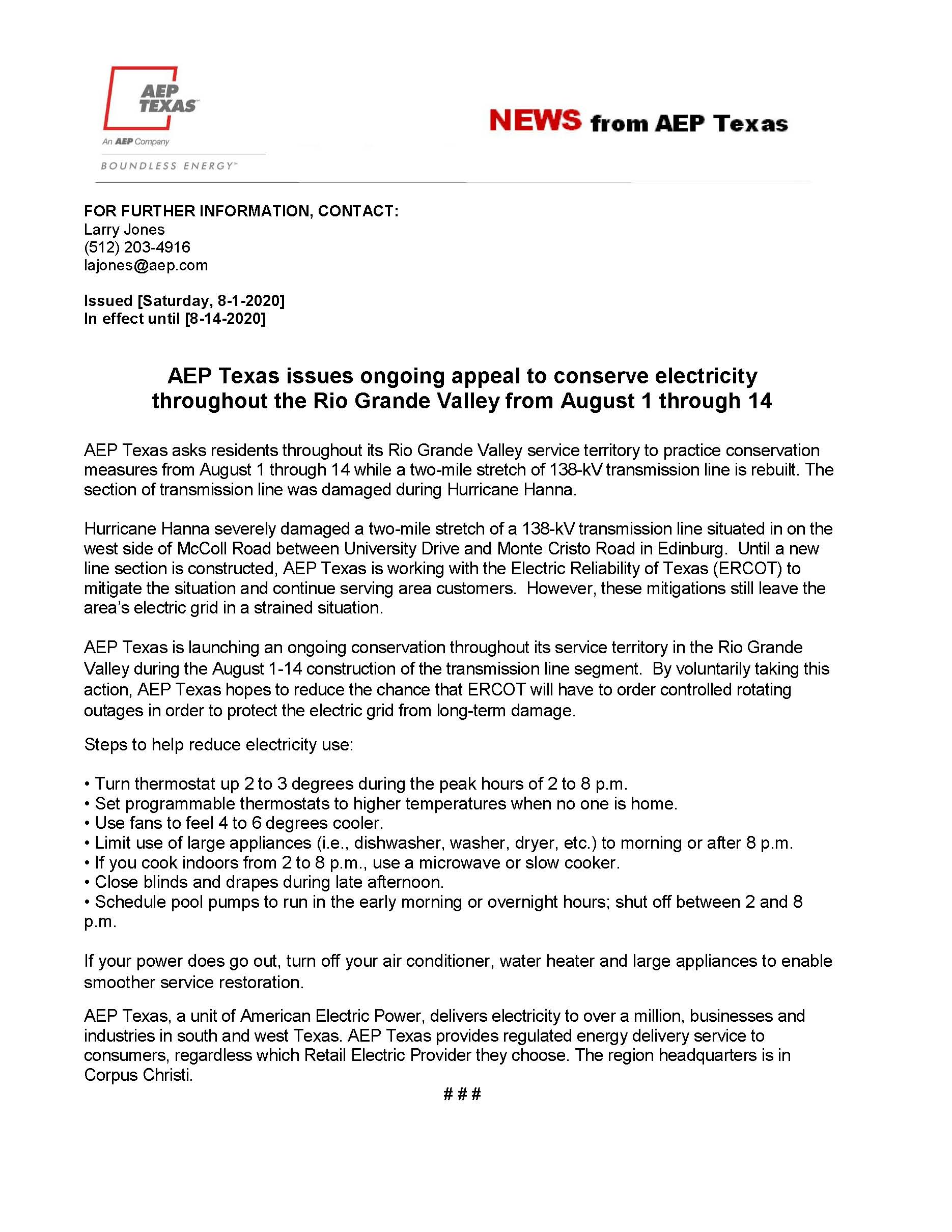 AEP Texas Requests Voluntary Conservation of Electricity