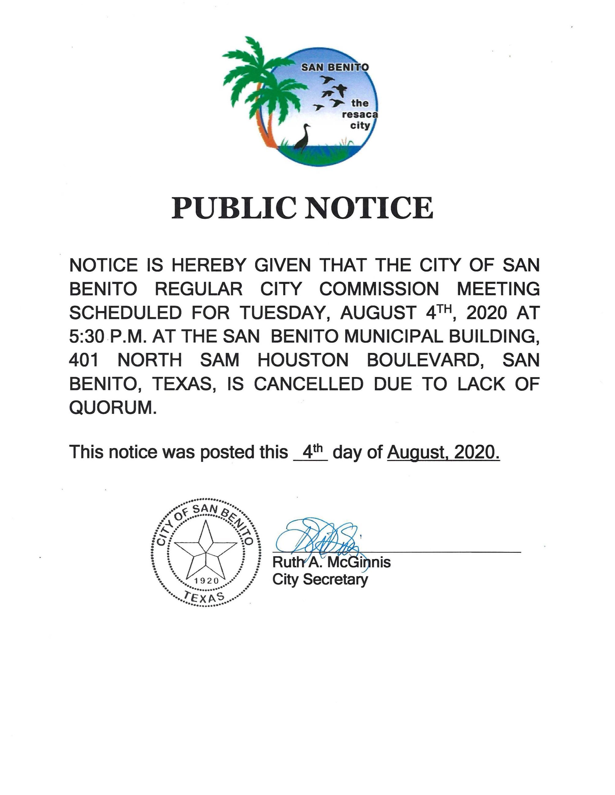 Public Notice: August 4, 2020 City of San Benito Regular City Commission Meeting Cancelled