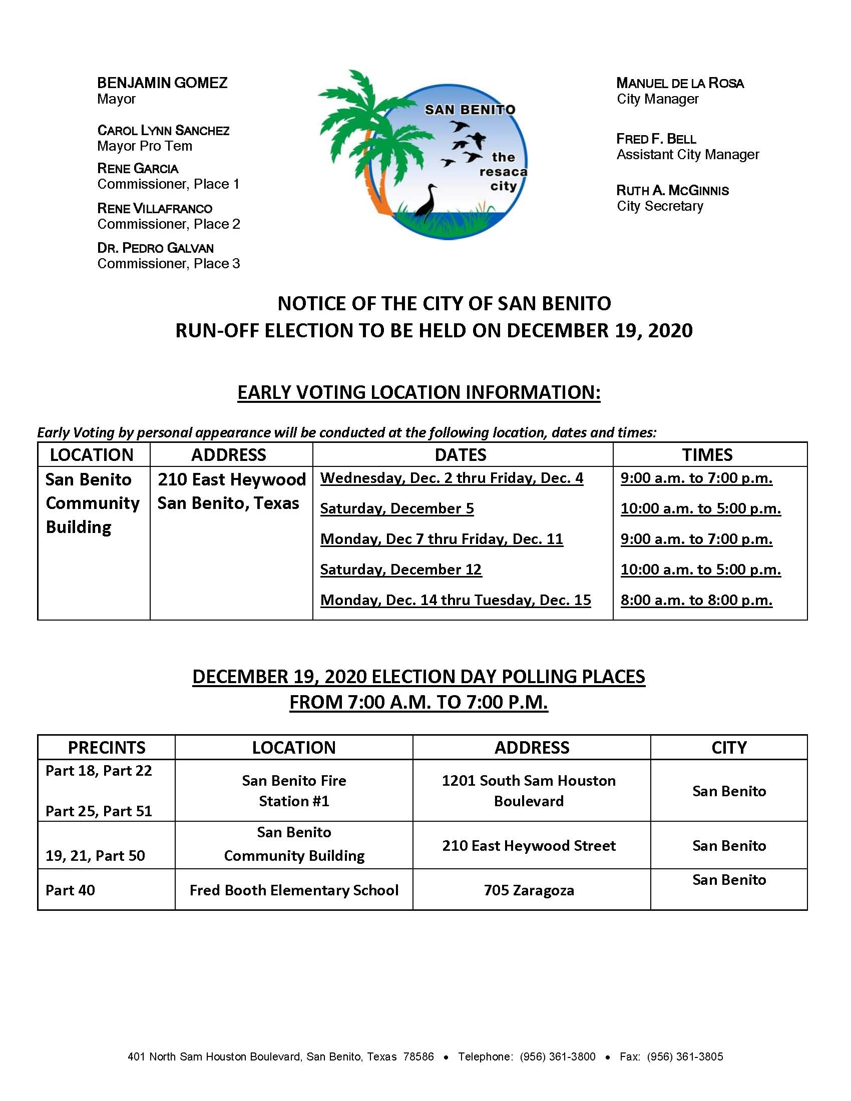 Notice of Early Voting Locations and Election Day for the December 19, 2020 Run-Off Election